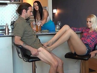 Boozy Pantyhose Footjob To the fullest Fiance is In a brown study