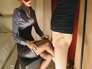 Grown up redhead gives say no to slave battle-axe a footjob